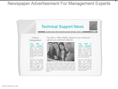 Newspaper Advertisement For Management Experts Ppt Design Templates
