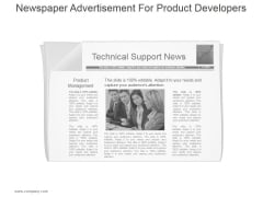 Newspaper Advertisement For Product Developers Ppt PowerPoint Presentation Show