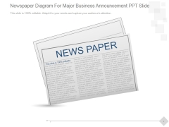 Newspaper Diagram For Major Business Announcement Ppt PowerPoint Presentation Styles
