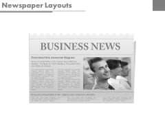 Newspaper Diagram With Business Team Powerpoint Slides