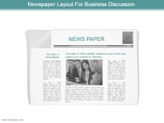 Newspaper Layout For Business Discussion Powerpoint Slide Designs