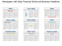 Newspaper With Daily Financial World And Business Headlines Ppt PowerPoint Presentation Professional Background Image