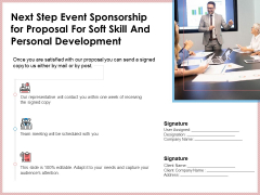 Next Step Event Sponsorship For Proposal For Soft Skill And Personal Development Ideas PDF
