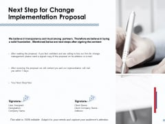 Next Step For Change Implementation Proposal Ppt PowerPoint Presentation Pictures Topics