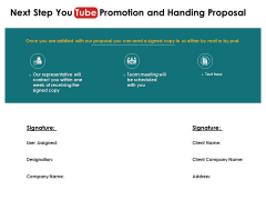 Next Step You Tube Promotion And Handing Proposal Team Meeting Ppt PowerPoint Presentation Pictures Guidelines