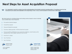Next Steps For Asset Acquisition Proposal Ppt PowerPoint Presentation Outline Demonstration