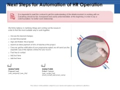 Next Steps For Automation Of HR Operation Ppt PowerPoint Presentation Model Design Templates PDF