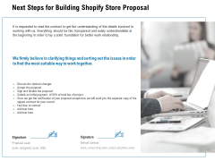 Next Steps For Building Shopify Store Proposal Ppt PowerPoint Presentation Infographic Template Icons