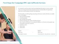 Next Steps For Campaign PPC And Adwords Services Mockup PDF