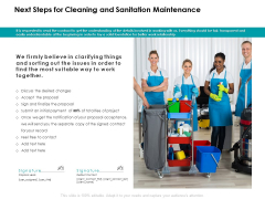 Next Steps For Cleaning And Sanitation Maintenance Contact Ppt PowerPoint Presentation Ideas Aids