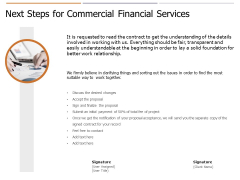 Next Steps For Commercial Financial Services Ppt PowerPoint Presentation Infographics Graphics