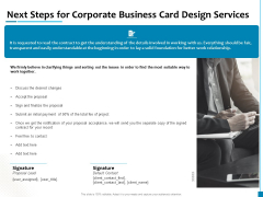 Next Steps For Corporate Business Card Design Services Formats PDF