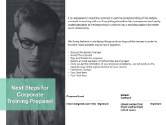 Next Steps For Corporate Training Proposal Ppt PowerPoint Presentation Infographics Templates