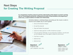 Next Steps For Creating The Writing Proposal Ppt Icon Gridlines PDF