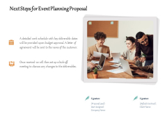 Next Steps For Event Planning Proposal Ppt PowerPoint Presentation Gallery Files PDF