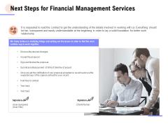 Next Steps For Financial Management Services Ppt PowerPoint Presentation Outline Designs