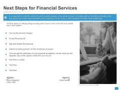 Next Steps For Financial Services Agenda Ppt PowerPoint Presentation Pictures File Formats