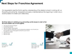 Next Steps For Franchise Agreement Ppt PowerPoint Presentation Infographic Template Rules