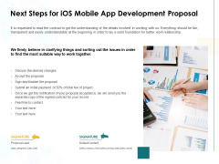 Next Steps For IOS Mobile App Development Proposal Ppt PowerPoint Presentation Portfolio Brochure
