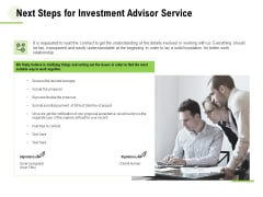 Next Steps For Investment Advisor Service Ppt Infographic Template Graphics Download PDF