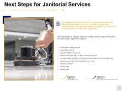 Next Steps For Janitorial Services Ppt PowerPoint Presentation Icon Shapes