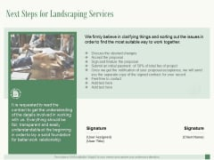 Next Steps For Landscaping Services Ppt PowerPoint Presentation Summary Themes