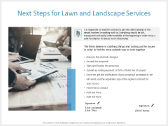 Next Steps For Lawn And Landscape Services Ppt PowerPoint Presentation File Formats