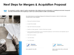 Next Steps For Mergers And Acquisition Proposal Ppt PowerPoint Presentation Inspiration Demonstration