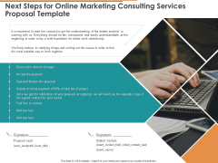 Next Steps For Online Marketing Consulting Services Proposal Template Ppt Pictures Show PDF