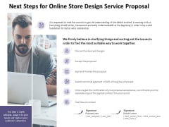 Next Steps For Online Store Design Service Proposal Ppt PowerPoint Presentation Infographic Template Background Designs