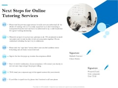 Next Steps For Online Tutoring Services Ppt PowerPoint Presentation Icon Aids PDF
