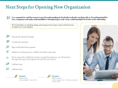 Next Steps For Opening New Organization Ppt PowerPoint Presentation Icon Designs Download PDF