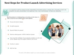 Next Steps For Product Launch Advertising Services Ppt PowerPoint Presentation Gallery Slide Download PDF