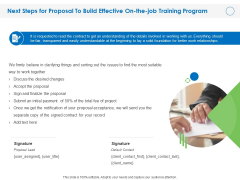 Next Steps For Proposal To Build Effective On The Job Training Program Ppt PowerPoint Presentation File Objects PDF