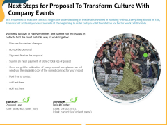 Next Steps For Proposal To Transform Culture With Company Events Ppt Ideas Graphics PDF