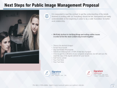 Next Steps For Public Image Management Proposal Ppt PowerPoint Presentation Model Master Slide