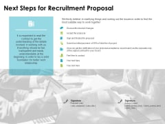 next steps for recruitment proposal ppt powerpoint presentation gallery demonstration