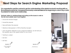Next Steps For Search Engine Marketing Proposal Ppt PowerPoint Presentation Summary Visual Aids PDF