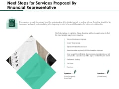 Next Steps For Services Proposal By Financial Representative Mockup PDF