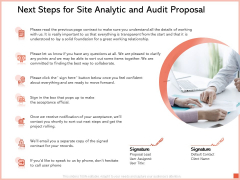 Next Steps For Site Analytic And Audit Proposal Ppt Icon Vector PDF