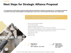 Next Steps For Strategic Alliance Proposal Ppt PowerPoint Presentation Ideas Aids