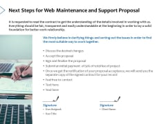 Next Steps For Web Maintenance And Support Proposal Ppt PowerPoint Presentation Diagram Lists