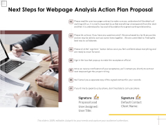 Next Steps For Webpage Analysis Action Plan Proposal Ppt PowerPoint Presentation Icon Structure PDF