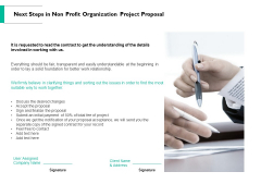 Next Steps In Non Profit Organization Project Proposal Ppt PowerPoint Presentation Gallery Master Slide