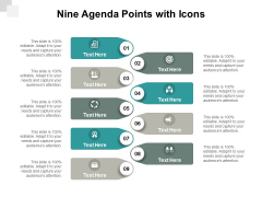Nine Agenda Points With Icons Ppt PowerPoint Presentation Infographic Template Infographics
