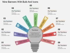 Nine Banners With Bulb And Icons Powerpoint Template