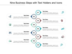 Nine Business Steps With Text Holders And Icons Ppt PowerPoint Presentation Model Files