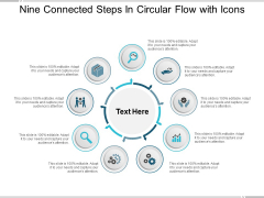 Nine Connected Steps In Circular Flow With Icons Ppt PowerPoint Presentation Infographics Themes