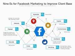 Nine Es For Facebook Marketing To Improve Client Base Ppt PowerPoint Presentation File Diagrams PDF
