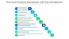 Nine Issues Faced By Businessman With Time Management Ppt PowerPoint Presentation Icon Background Images PDF